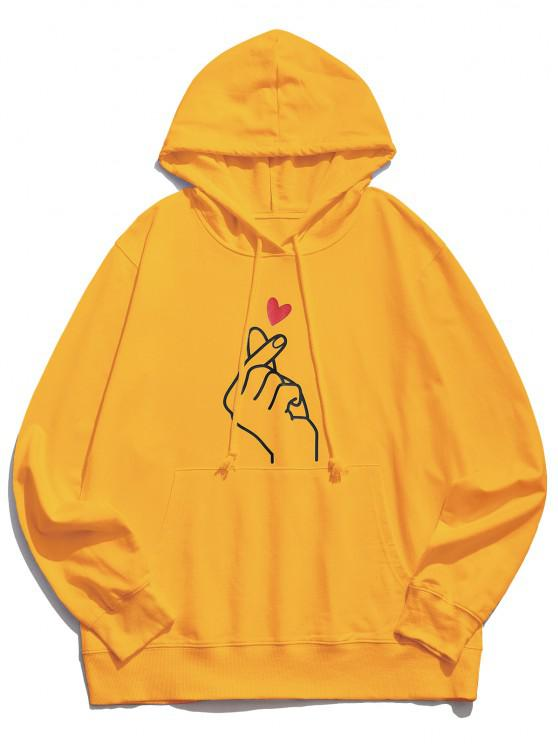 womens Finger Heart Graphic Pouch Pocket Casual Hoodie - YELLOW S