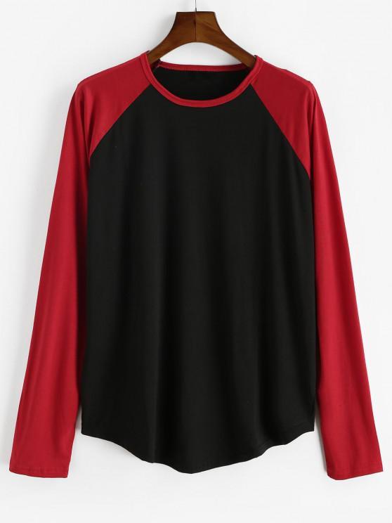new Raglan Sleeve Contrast Baseball T-shirt - BLACK 2XL
