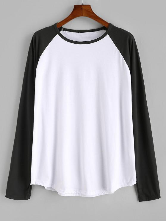 fancy Raglan Sleeve Contrast Baseball T-shirt - WHITE L