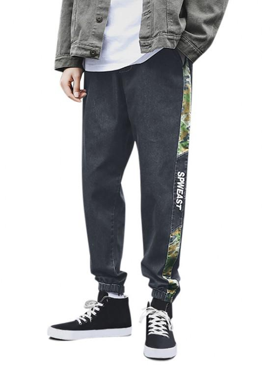 women Camouflage Panel Letter Embroidery Jeans - BLACK S