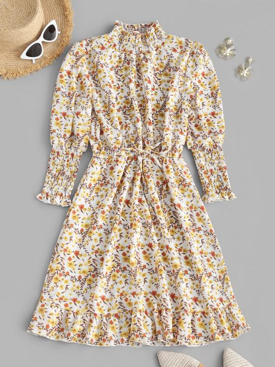 fancy Floral Smocked Puff Sleeve Flounce Dress - LIGHT YELLOW L