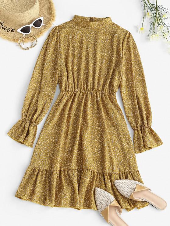 best Ditsy Floral Ruffle Cuff Long Sleeve Dress - LIGHT YELLOW XL
