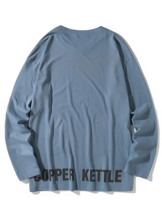 Camiseta emagrecedora de mangas longas - Seda de Azul XL