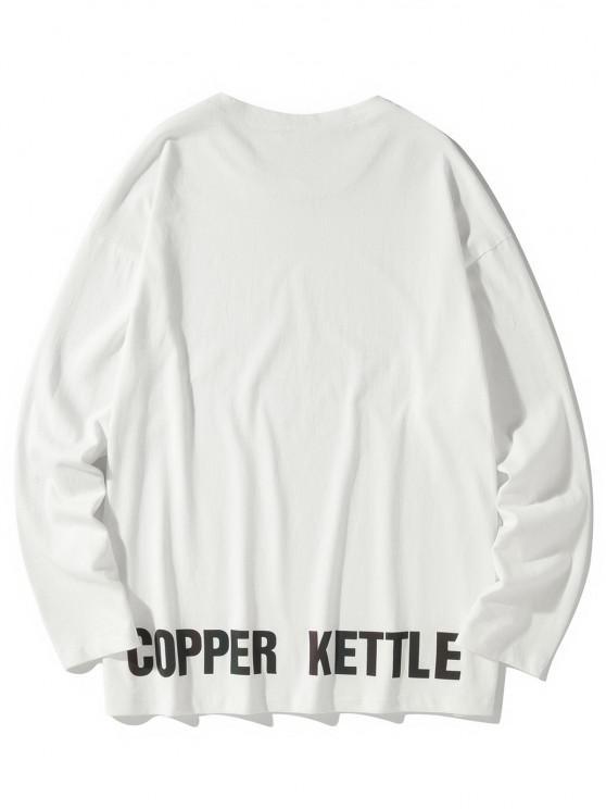 Camiseta emagrecedora de mangas longas - Branco 3XL
