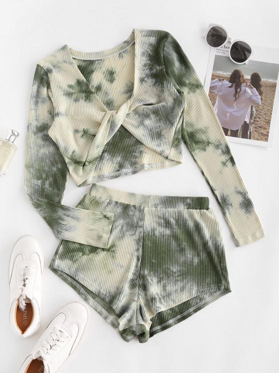 women's Twisted Front Tie Dye Ribbed Two Piece Set - LIGHT GREEN S