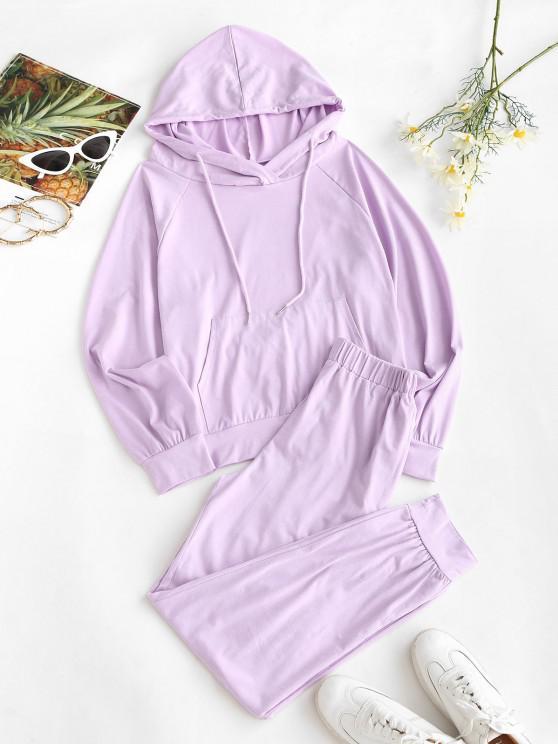 latest Raglan Sleeve Kangaroo Pocket Two Piece Pants Set - LIGHT PURPLE S