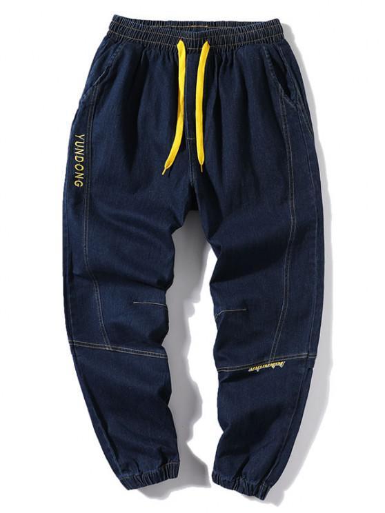 Letter Embroidery Stitching Elastic Cuff Jeans - الدينيم الأزرق الداكن XS