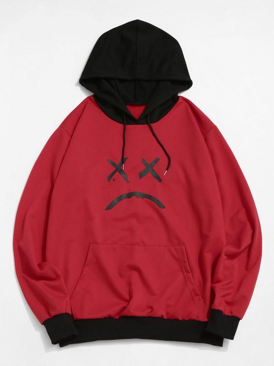ZAFULリブ付きのフロントポケット顔グラフィックパーカー - 赤 M