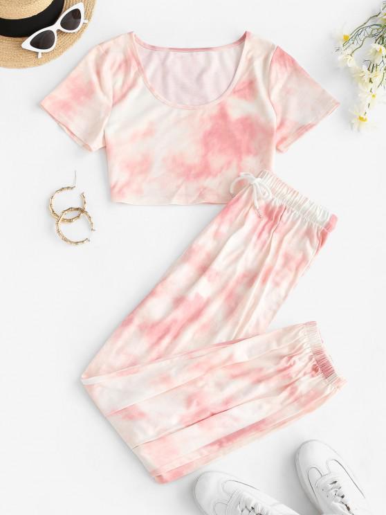 womens Tie Dye T-shirt and Drawstring Jogger Pants Set - LIGHT PINK L
