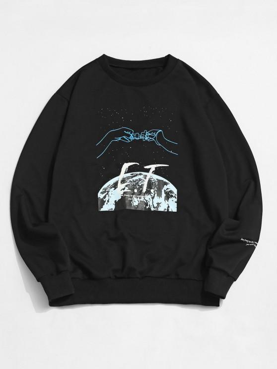 outfits ZAFUL Crew Neck Universe Graphic Sweatshirt - BLACK S