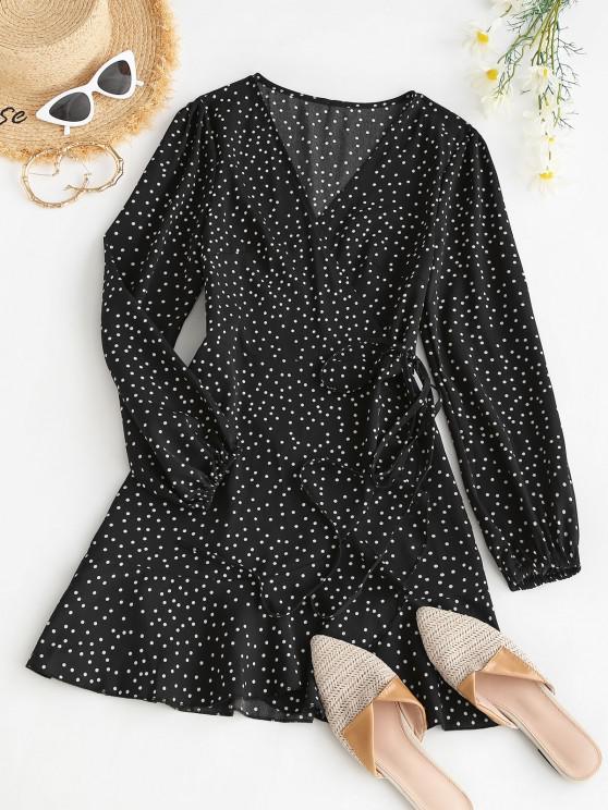womens Polka Dot Ruffle Lantern Sleeve Wrap Dress - BLACK S