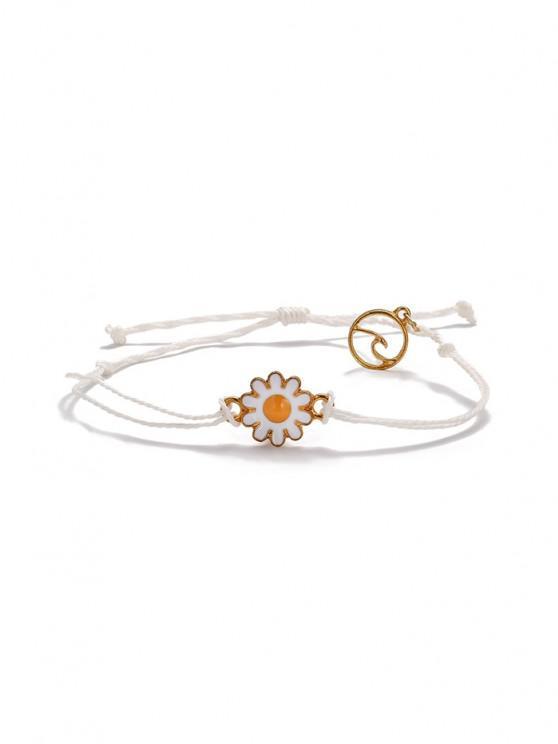 online Daisy Floral Adjustable Rope Bracelet - WHITE