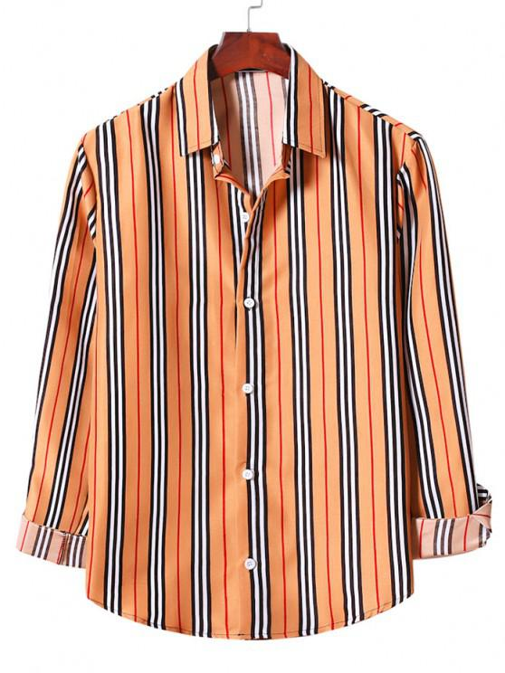 outfits Casual Vertical Stripe Button Up Shirt - SANDY BROWN L