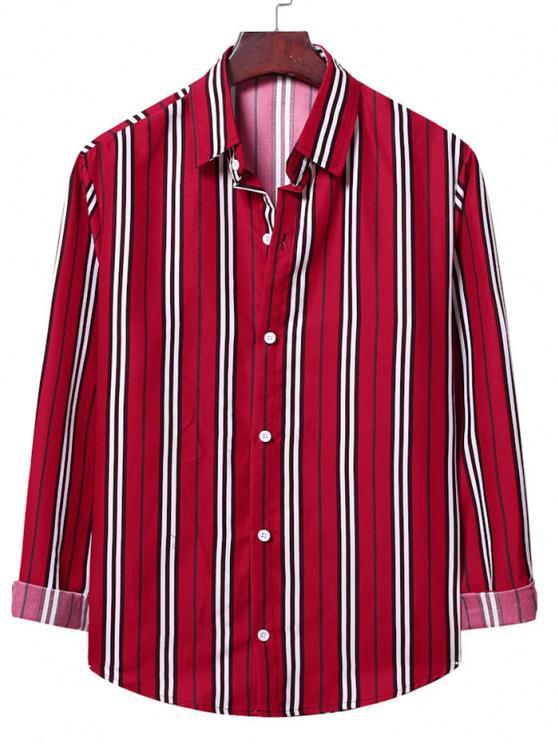 Camisa de Listra Vertical Fino Adequado - Lava Vermelha 2XL