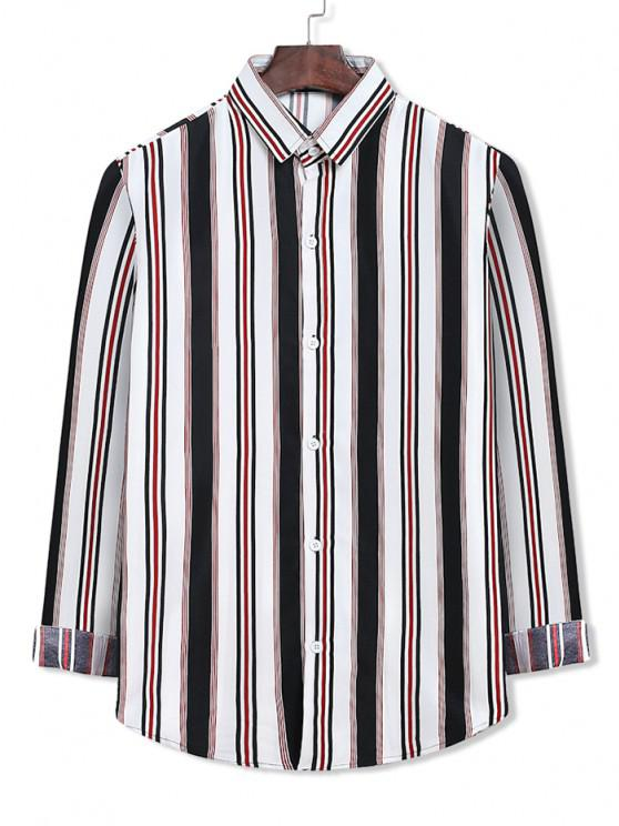 online Colorblock Stripes Pattern Button Up Shirt - WHITE L