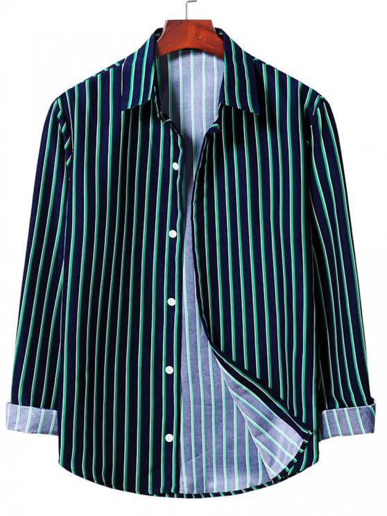 best Vertical Striped Shirt - DEEP GREEN M