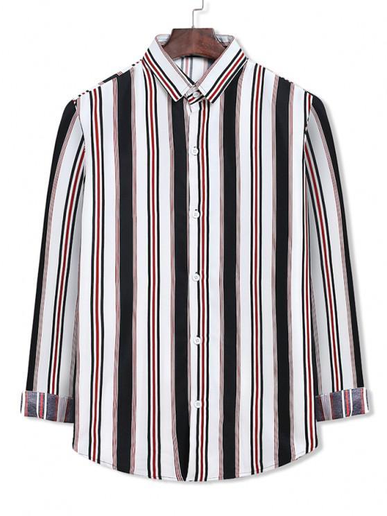 fashion Colorblock Stripes Pattern Button Up Shirt - WHITE S