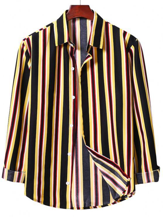 Camisa a Rayas Verticales con Botones - Amarillo 2XL