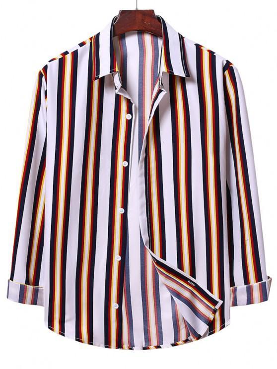 women's Casual Button Up Vertical Stripe Shirt - WHITE L