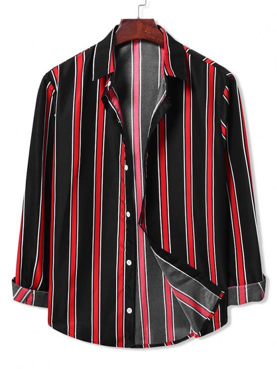 best Long Sleeve Contrast Stripes Casual Shirt - BLACK 2XL