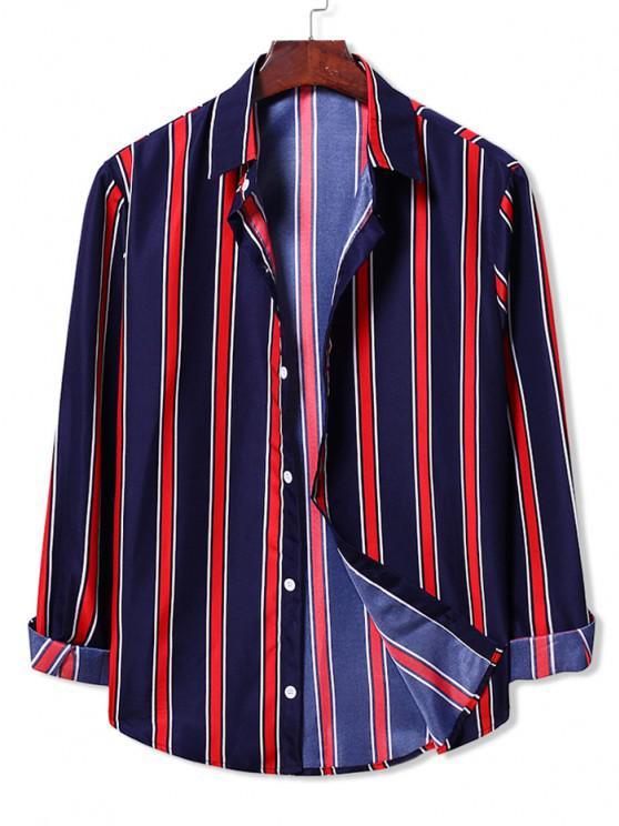 trendy Long Sleeve Contrast Stripes Casual Shirt - CADETBLUE XL