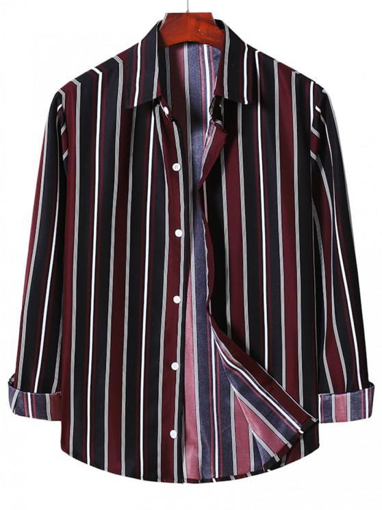 fashion Stripe Button Up Shirt - RED WINE L