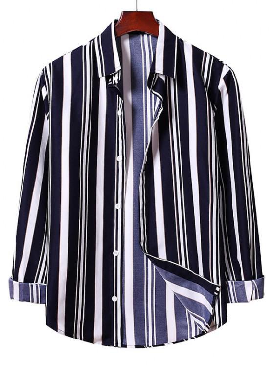 buy Button Up Striped Shirt - DENIM DARK BLUE XL