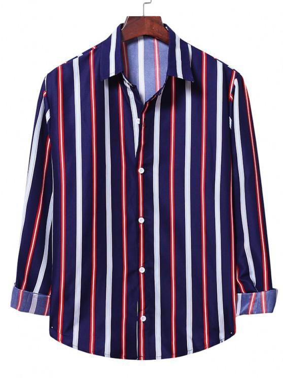 women Stripe Colorblock Curved Shirt - CADETBLUE XL