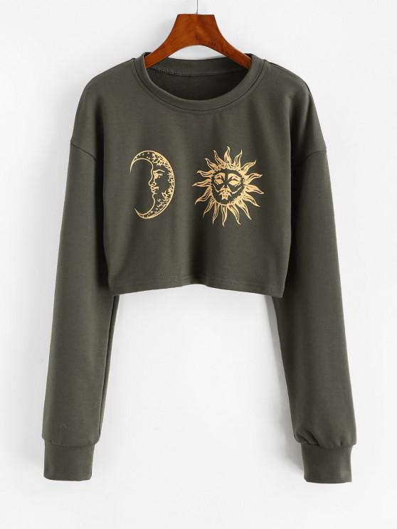 Sun Moon Print Cropped Sweatshirt - اللون الرمادي XL