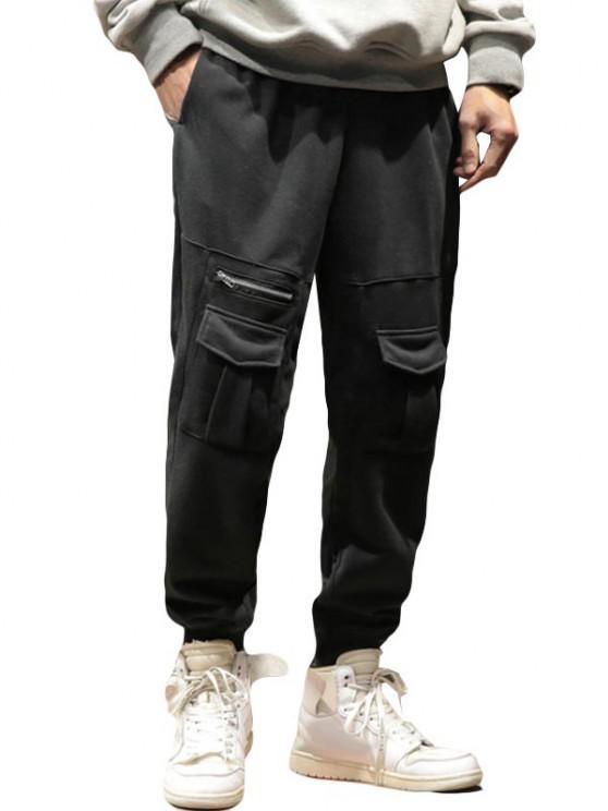 unique Pure Color Pockets Drawstring Beam Feet Pants - BLACK XS