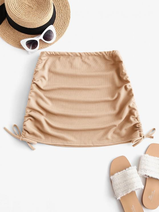 new Ribbed Cinched Side Mini Skirt - LIGHT COFFEE ONE SIZE