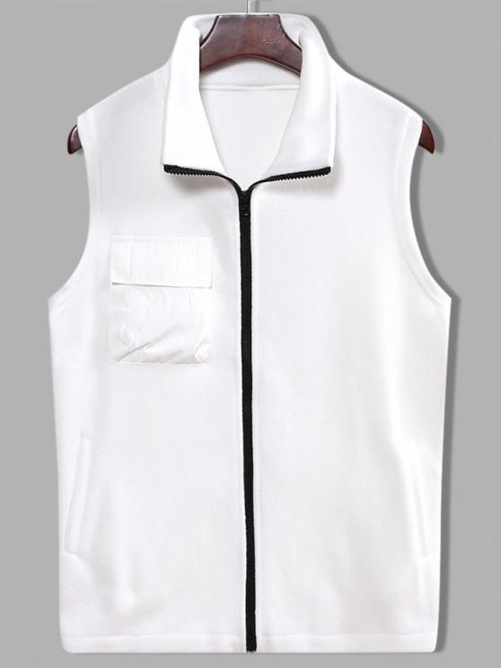 Fleece Zipper Pocket Vest - أبيض L