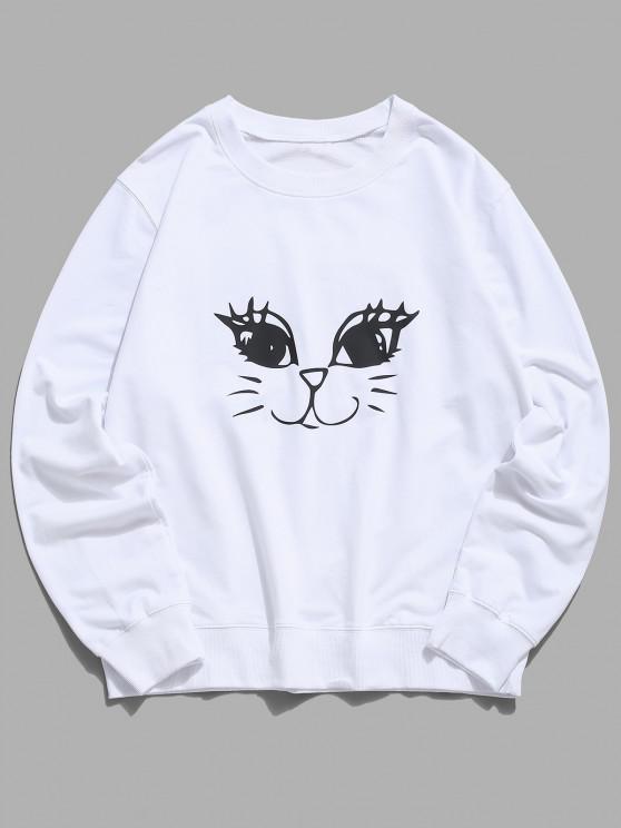 women's Cute Cat Graphic Lounge Crew Neck Sweatshirt - WHITE XS