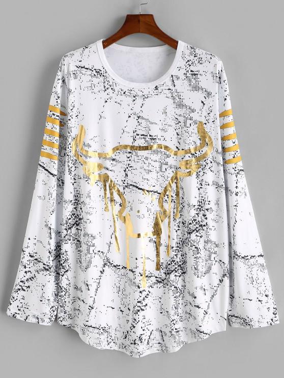 T-shirt Tête de Vache Imprimée à Ourlet Courbe à Pois - Blanc XL