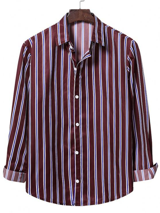 new Casual Vertical Stripes Button Up Shirt - RED WINE S