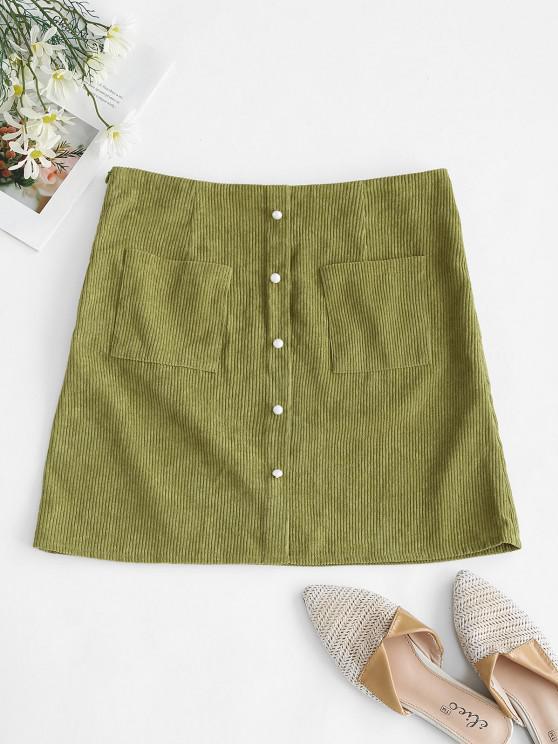 chic ZAFUL Corduroy Patch Pocket Mock Button Skirt - LIGHT GREEN M