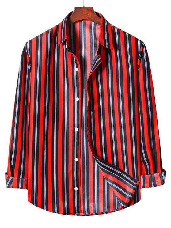 Camisa Casual Listrada de Abotoar - Lava Vermelha 2XL