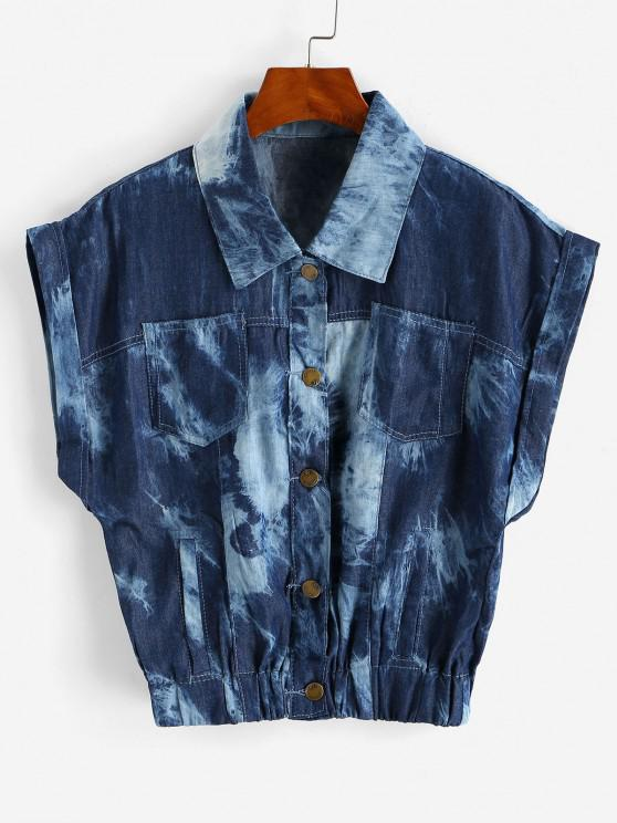 affordable Tie Dye Chambray Pocket Cuffed Vest - DEEP BLUE M