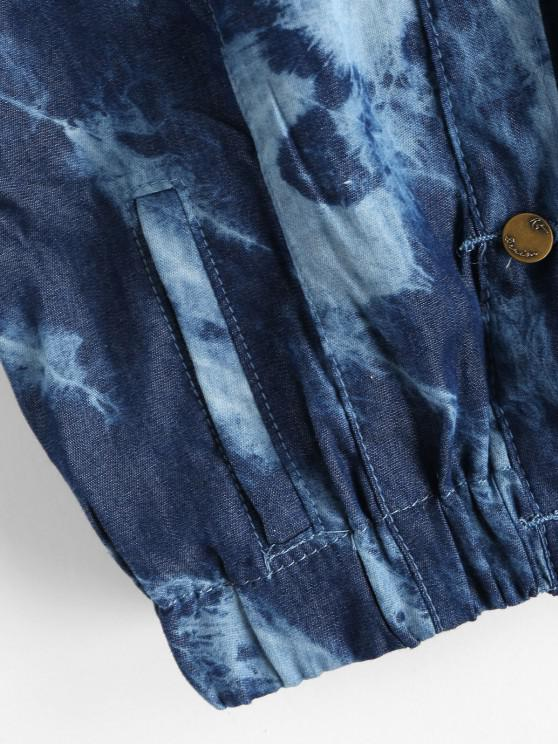 Tie Dye Chambray Pocket Cuffed Vest - Deep Blue M   ZAFUL