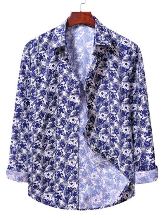 outfit Casual Floral Print Shirt - WHITE S