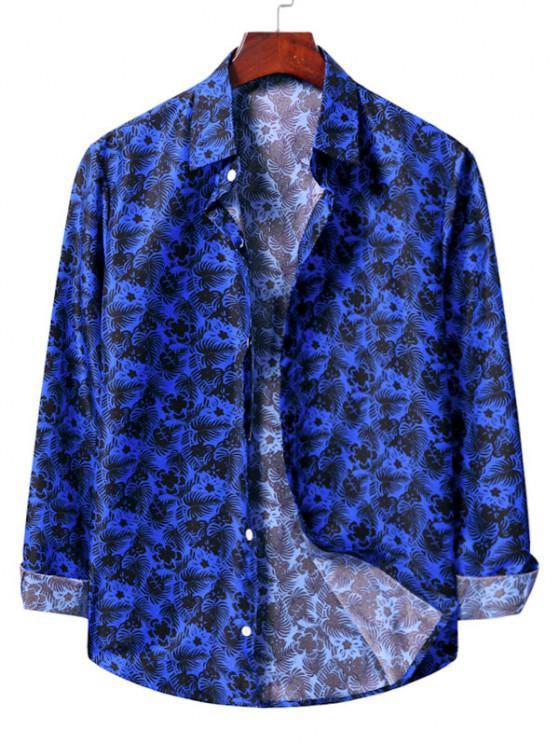 womens Casual Floral Print Shirt - COBALT BLUE S