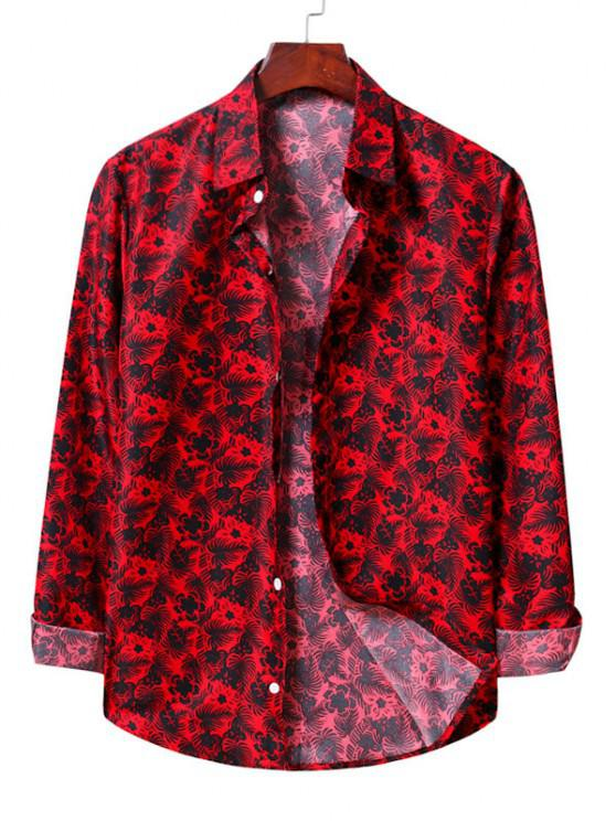 unique Casual Floral Print Shirt - LAVA RED S