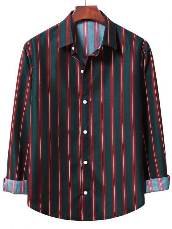Camiseta Listrada de Abotoar e Mangas Compridas - Lava Vermelha S