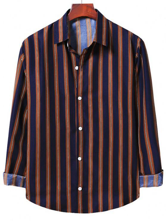 outfit Long Sleeve Stripes Button Up Shirt - COFFEE XL