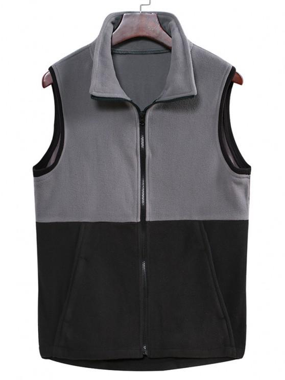 Colorblock Zipper Fleece Vest - كربون رمادي M