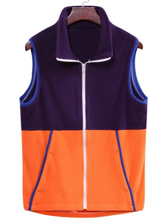 unique Colorblock Zipper Fleece Vest - PURPLE IRIS M