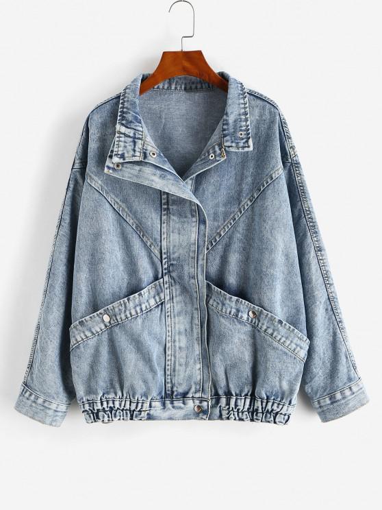 womens Grunge Snap Button Big Pocket Dolman Sleeve Denim Jacket - BLUE ONE SIZE