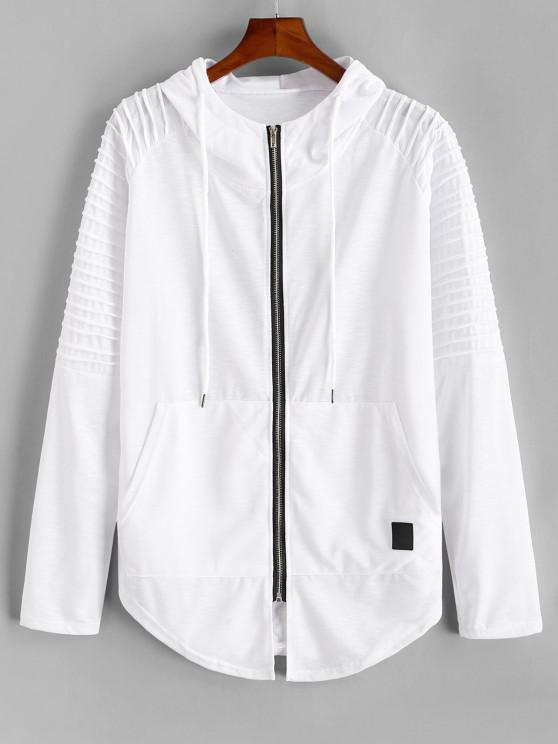unique Kangaroo Pocket Stitching Detail Zip Up Hoodie - WHITE XL