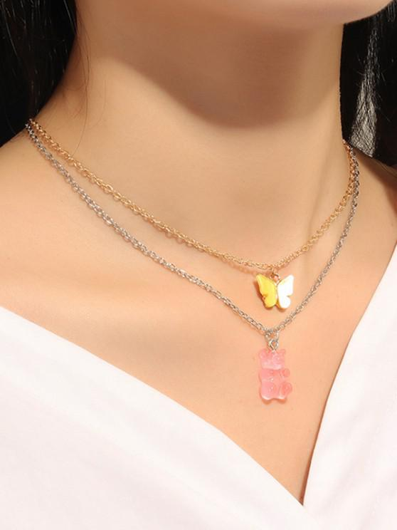 Bear Butterfly Pendant Chain Necklaces Set - متعددة-A