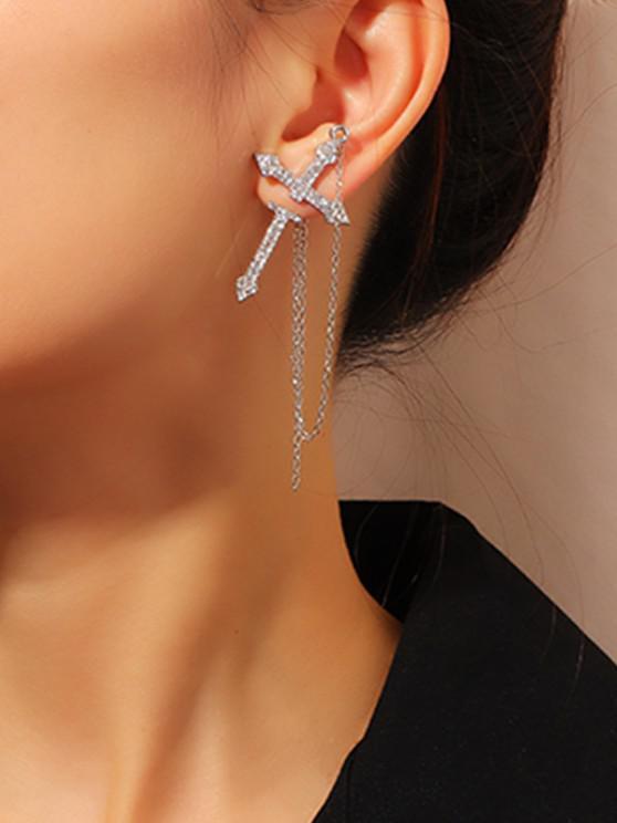 buy Rhinestone Cross Chain Single Earring - SILVER